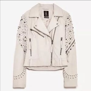 Zara Leather Studded Embellished Jacket